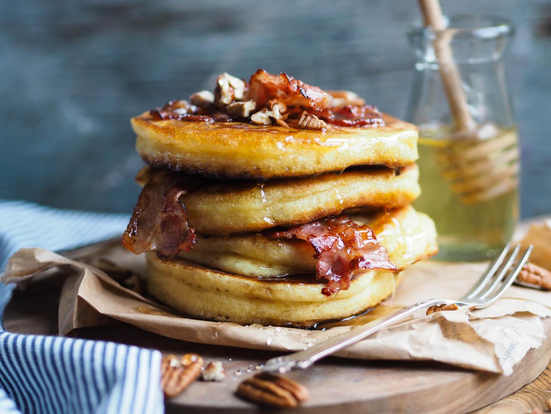 Amerikanske pannekaker med bacon og pecan_P1190024