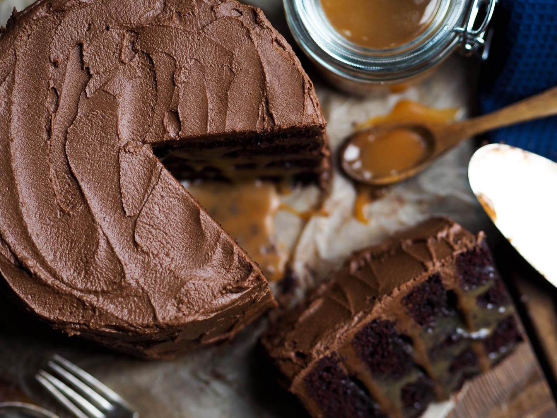 Sjokoladekake med rennende karamell_P2170046
